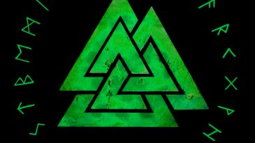 valknut and rune circle green by kainmorgenmeer d8gvflz
